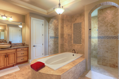 Tiled tub and bathroom shower for new home construction
