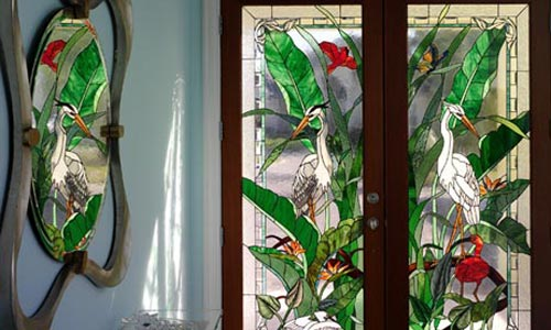 Stained glass window for florida home