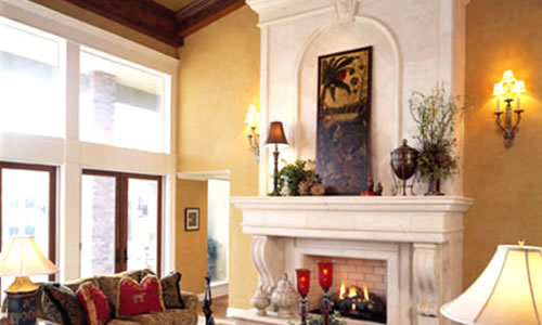 Interior with fireplace and cathedral ceilings - remodel