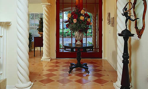 Tiled floor design and custom home build