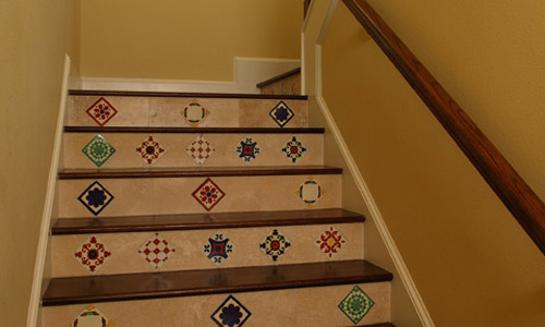 Tiled stairs in a new florida home