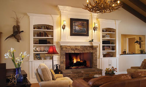 Fireplace with book shelves in new home construction