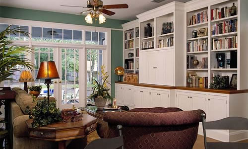 Library with bookshelves custom builder orlando, florida