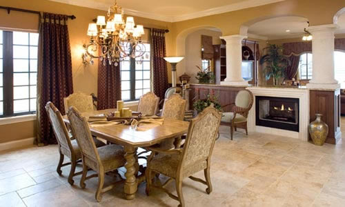 Family room with fireplace fine home builder