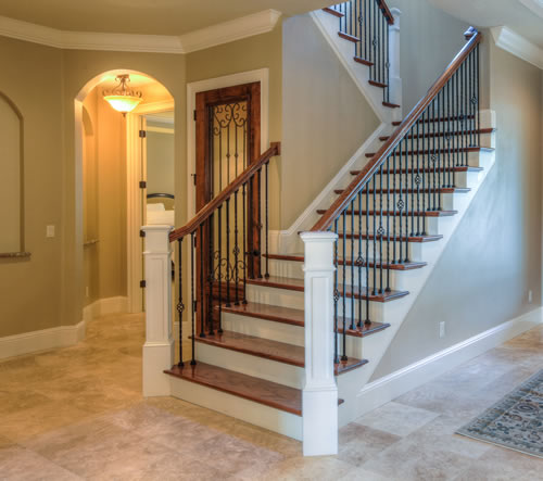 Staircase with craftsman style architecture orlando builder