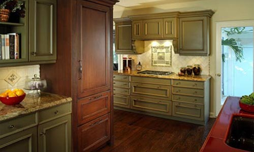 Kitchen large cabinets and wood floor builder