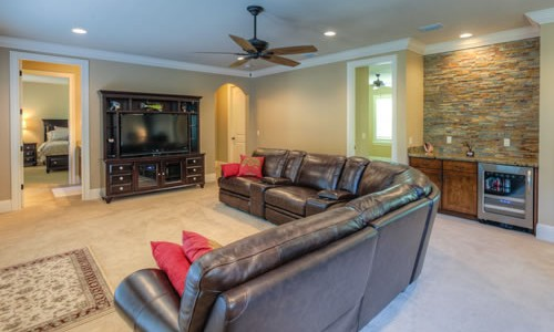 Media room for entertainment custom home builder