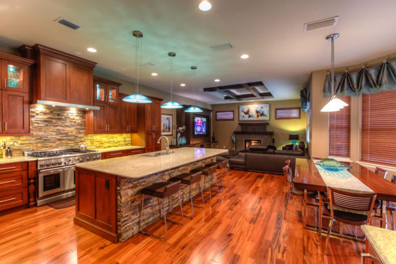 The kitchen, dining area and family room were opened up for more efficient use of the space.