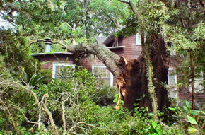 Damage to rear of home from Hurricane Charley.