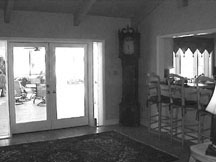 The wall with the French doors was removed to make room for the new breakfast area.