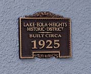 Greeting visitors to the circa 1925 home in the Lake Eola Heights Historic District is an historical registry plaque.