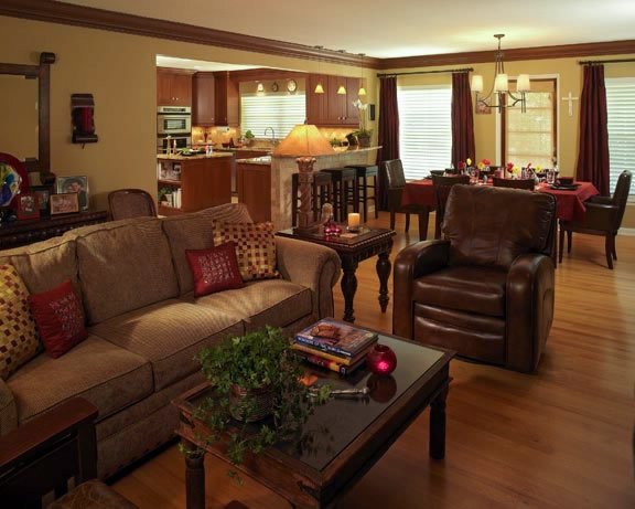 An open floor plan in this modestly-sized home provides a spacious feel and room for entertaining.